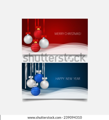Holiday gift coupons with gift bows and Christmas ball, vector illustration. - stock vector