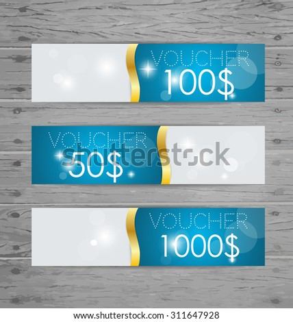 Holiday Gift Coupons with ribbons. Vector illustration. - stock vector