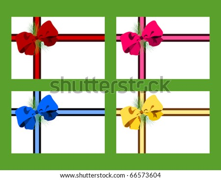 Holiday gift tags featuring multicolored bows - stock vector