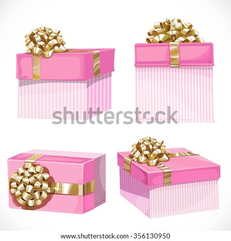 Holiday gifts in pink boxes with gold bow isolated on a white background - stock vector
