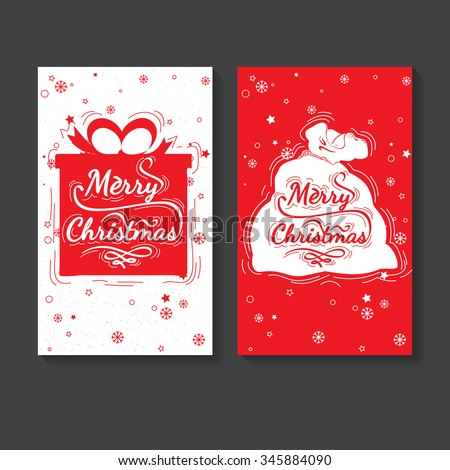 Holiday greeting card design. Marry Christmas - quote for post card, posters, banners, flyer. Christmas lettering vector collection. Christmas gift and Santa Claus bag - stock vector