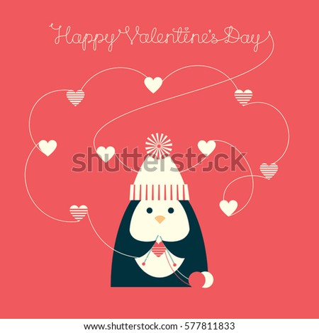 vector illustration of a cute cartoon penguin knitting heart shapes text - Cartoon Valentine Pictures