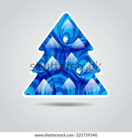 Holiday greeting card with abstract  blue christmas tree - stock vector