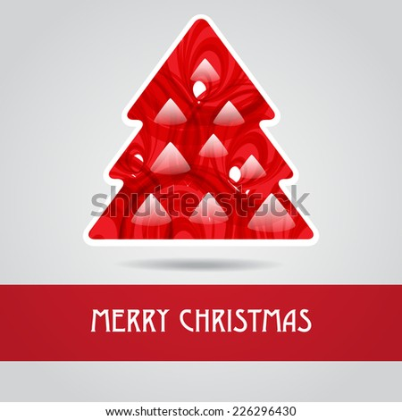 Holiday greeting card with abstract red christmas tree - stock vector