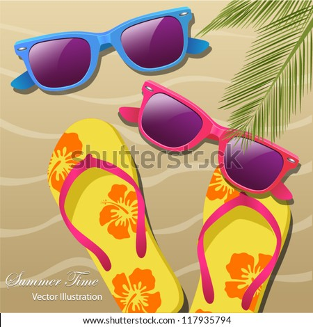Holiday greeting card with sun glasses, flip-flops and Palm leaves. Vector Illustration - stock vector
