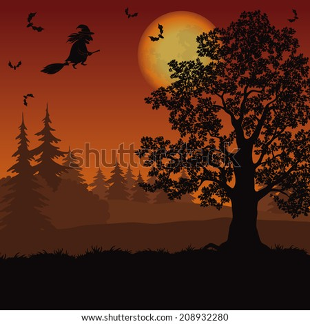 Holiday Halloween landscape with witch, trees, moon and bats. Vector - stock vector