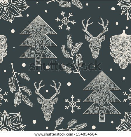 Holiday Hand Drawn Pattern - stock vector