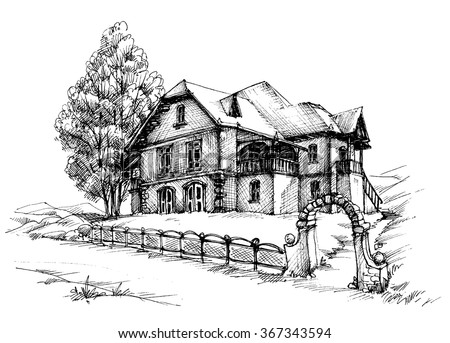 Holiday house sketch - stock vector
