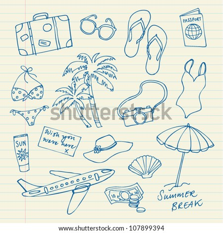 Holiday icons doodles vector drawings - stock vector