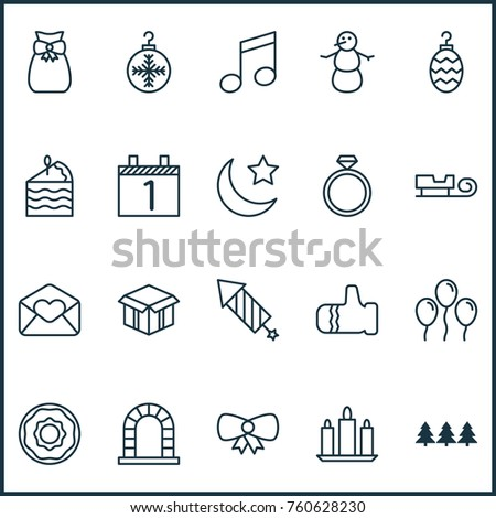 Holiday icons set air ball butterfly stock vector 760628230 holiday icons set with air ball butterfly knot greeting email and other mitten elements m4hsunfo