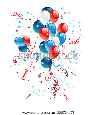 Holiday illustration. Blue, red and white balloons for festive advertising, leaflet, cards, invitation and so on. - stock vector