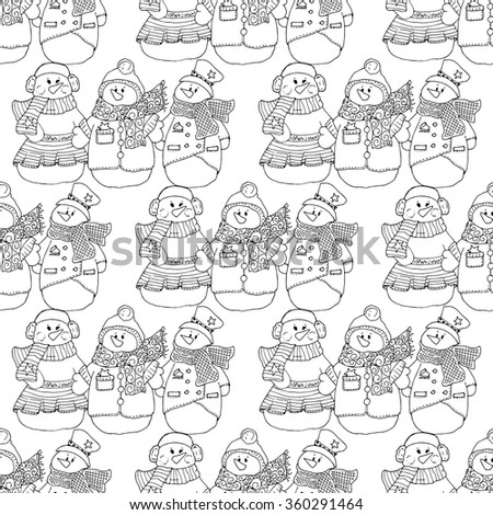 Holiday illustration. Christmas snowmen. New Year card. Winter figure. Seamless pattern. - stock vector