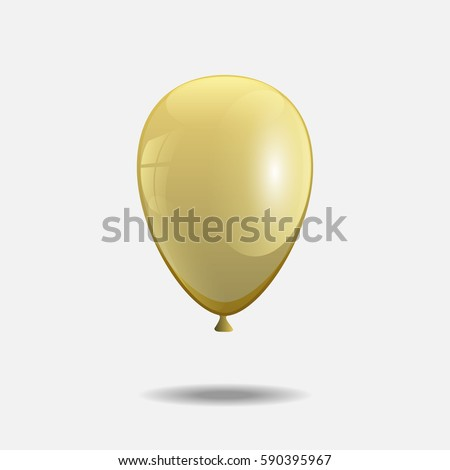 Holiday illustration of flying yellow balloon. Isolated on white Background. Vector Illustration