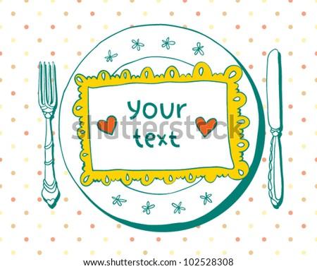 Holiday invitation. Tableware - stock vector
