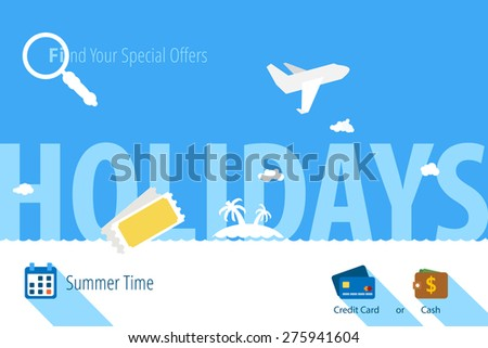 Holiday island for travel. Template for design. - stock vector