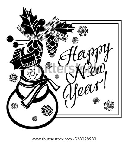 holiday label with funny snowman and written greeting happy new year vector