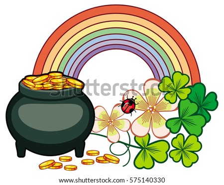 Holiday Label With Shamrock Rainbow And Leprechaun Pot Of Gold St Patrick Day