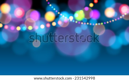Holiday lights, Christmas card (Vector image) - stock vector
