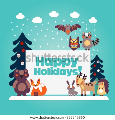 Holiday lovely vector card with funny cute animals, blue sky, snowflakes, clouds and Christmas trees decorating with holiday toys. Christmas and New Year vector illustration. Funny winter background - stock vector