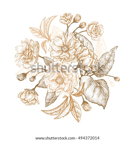 Holiday Luxury card for invitations, greetings. Hand drawing Chinese plum. The branches with leaves and bloom on a white background. Embroidery with golden threads. Vintage vector illustration.