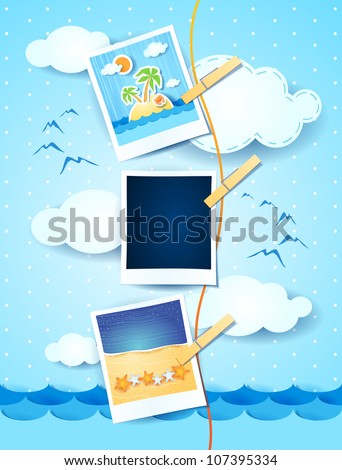 Holiday memories with photo frame, vector - stock vector