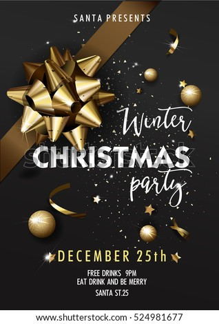 Holiday Merry Christmas party layout poster template. Christmas Design for your holiday invitation. Christmas Vector Illustration.