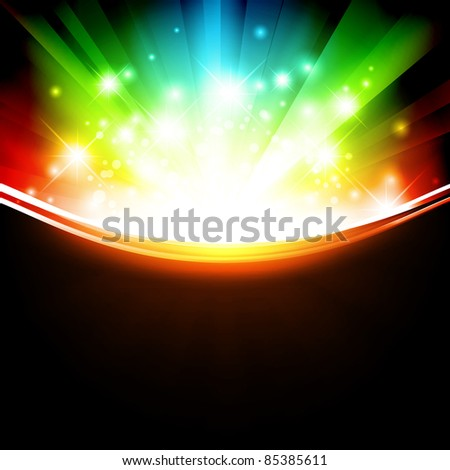 holiday multicolored template with shining stars and copyspace - stock vector