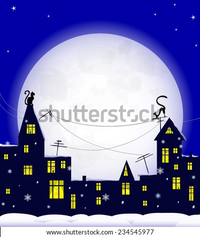 holiday night in old town, cats on roof, christmas decoration in windows, snowflakes and  snowdrift, big moon on blue sky, vector illustration