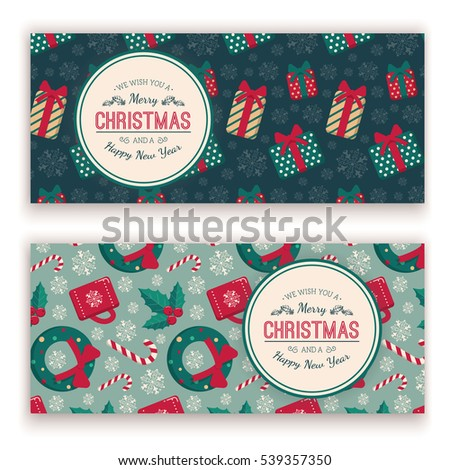 Holiday objects pattern and greeting text. Retro style for Christmas and New Year design.