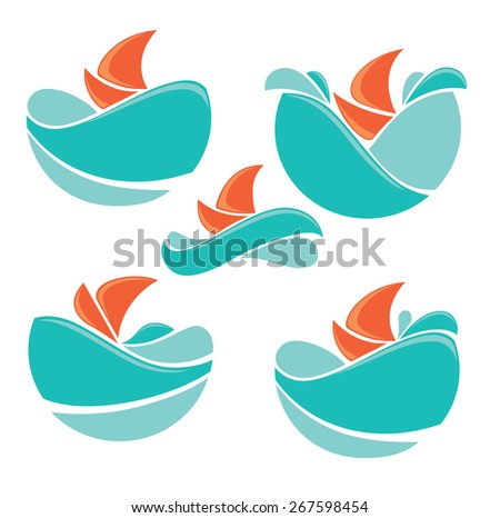 holiday on water, vector collection of travel icons and emblems - stock vector
