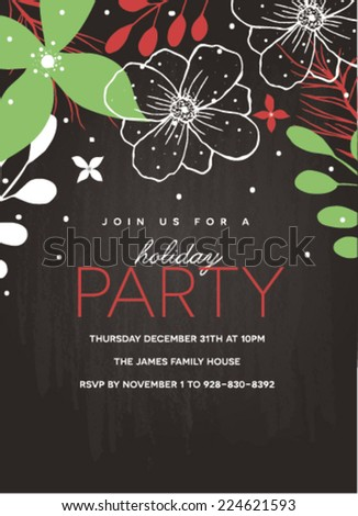 Holiday Party Invitation Template on Chalkboard Background