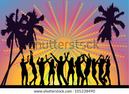 holiday party on the beach- vector - stock vector