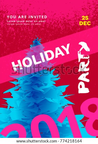 Holiday Party Poster Template Elements Flyer Stock Vector