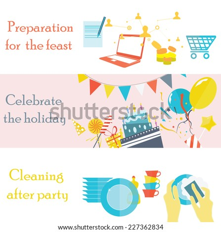 Holiday pictures of  preparation for  feast, celebration and cleaning after party. - stock vector