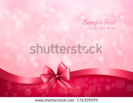 Holiday pink background gift glossy bow 176309099 holiday pink background with gift glossy bow and ribbon vector negle Images