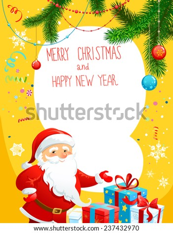 Holiday poster with Santa Claus. Copy space  - stock vector