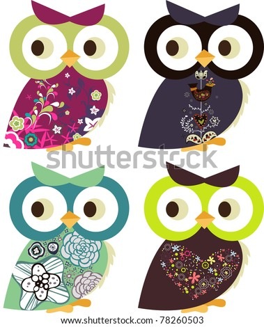 holiday project set -very cute kid's project- scrap-booking elements- floral sticker - owl - stock vector