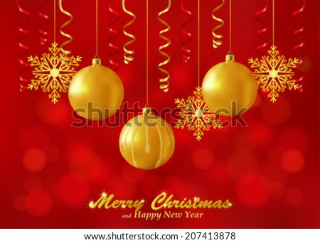 Holiday red background with Christmas ornaments. Christmas background decorated with glass balls, snowflakes and paper streamers. Vector. - stock vector