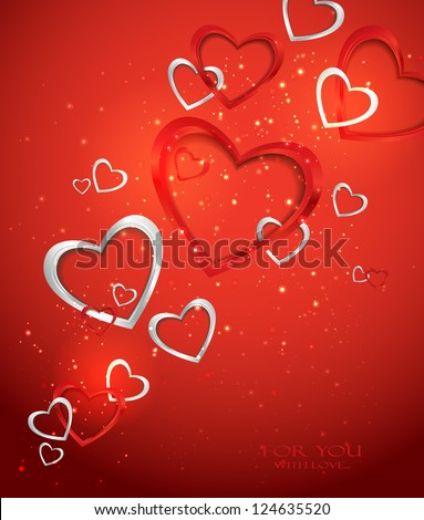 Holiday red background with hearts - stock vector