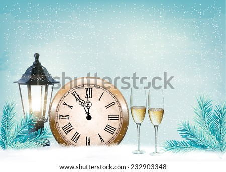 Holiday retro background with champagne glasses and clock . Happy New Year. Vector illustration - stock vector