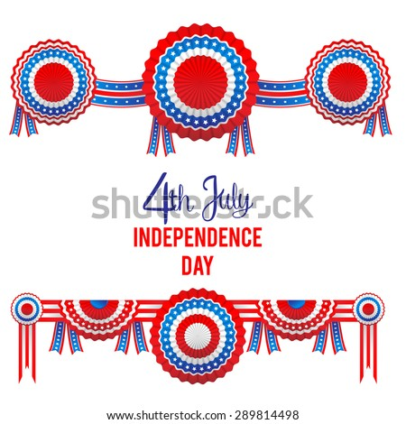 Holiday ribbon rosettes, isolated on white background. Blue, white and red colors. Design for advertising, leaflet, cards, invitation and so on. - stock vector
