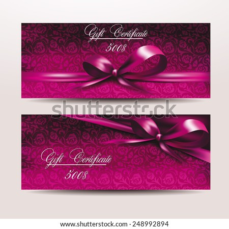 Holiday rose valentine's card with pink ribbons - stock vector