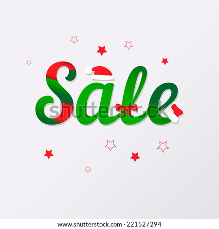 "Holiday Sale background with stylized word ""Sale"", of christmas symbols"