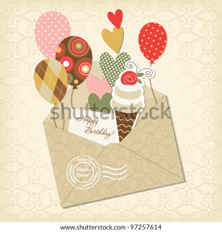holiday scrapbooking elements, greeting birthday card - stock vector