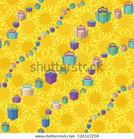 Holiday seamless background with a pattern of festive gift boxes and star. Vector - stock vector