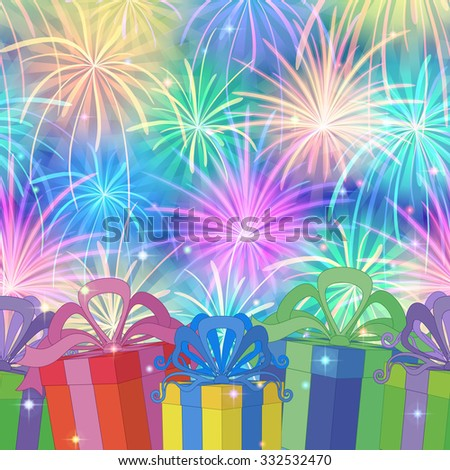 Holiday Seamless Background with Gift Color Boxes on Colorful Firework. Pattern for Holiday Design. Eps10, Contains Transparencies. Vector - stock vector