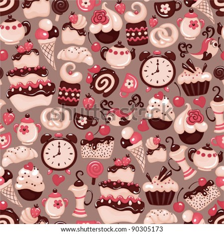 Holiday seamless pattern from sweet - stock vector