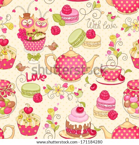 Holiday seamless pattern with macaroon, cupcakes, berries, tea, flower, and birds. - stock vector