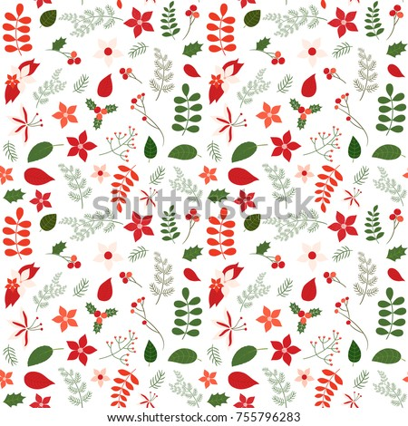 Colors For Christmas Pictures Exellent Holiday Seamless Vector Pattern With Leaves And Flowers In