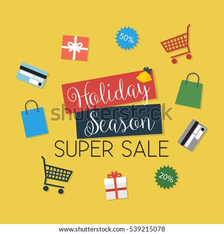 Holiday Season Super Sale - Flat Design Illustration - vector EPS10